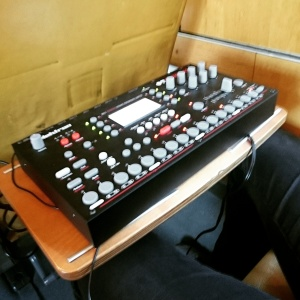 Elektron Octatrack on a train desk.